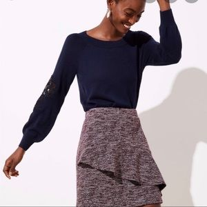 Loft pink tweed asymmetrical skirt
